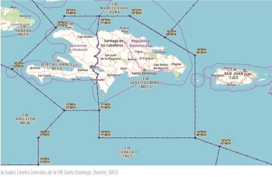Actuales Limites laterales de la FIR Santo Domingo, (fuente, OACI)