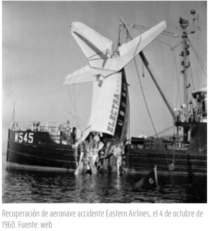 aspec Recuperación de aeronave accidente Eastern Airlines, el 4 de octubre de 1960. Fuente: web