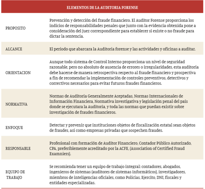 ELEMENTOS DE LA AUDITORIA FORENSE